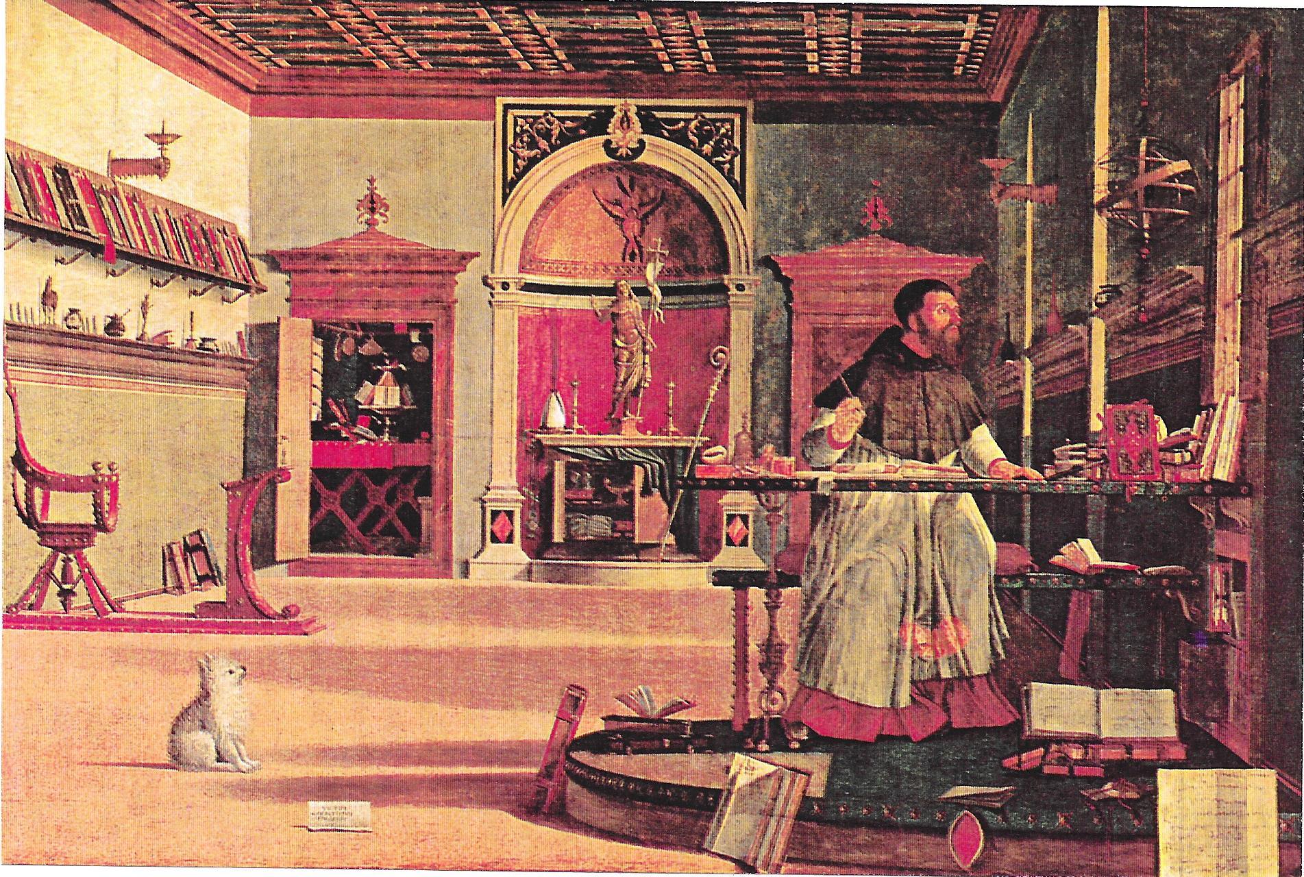 """1 Vittore Carpaccio """"La visione di Sant'Agostino"""". Olio su tela, 1502. Venezia, Scuola di San Giorgio"""