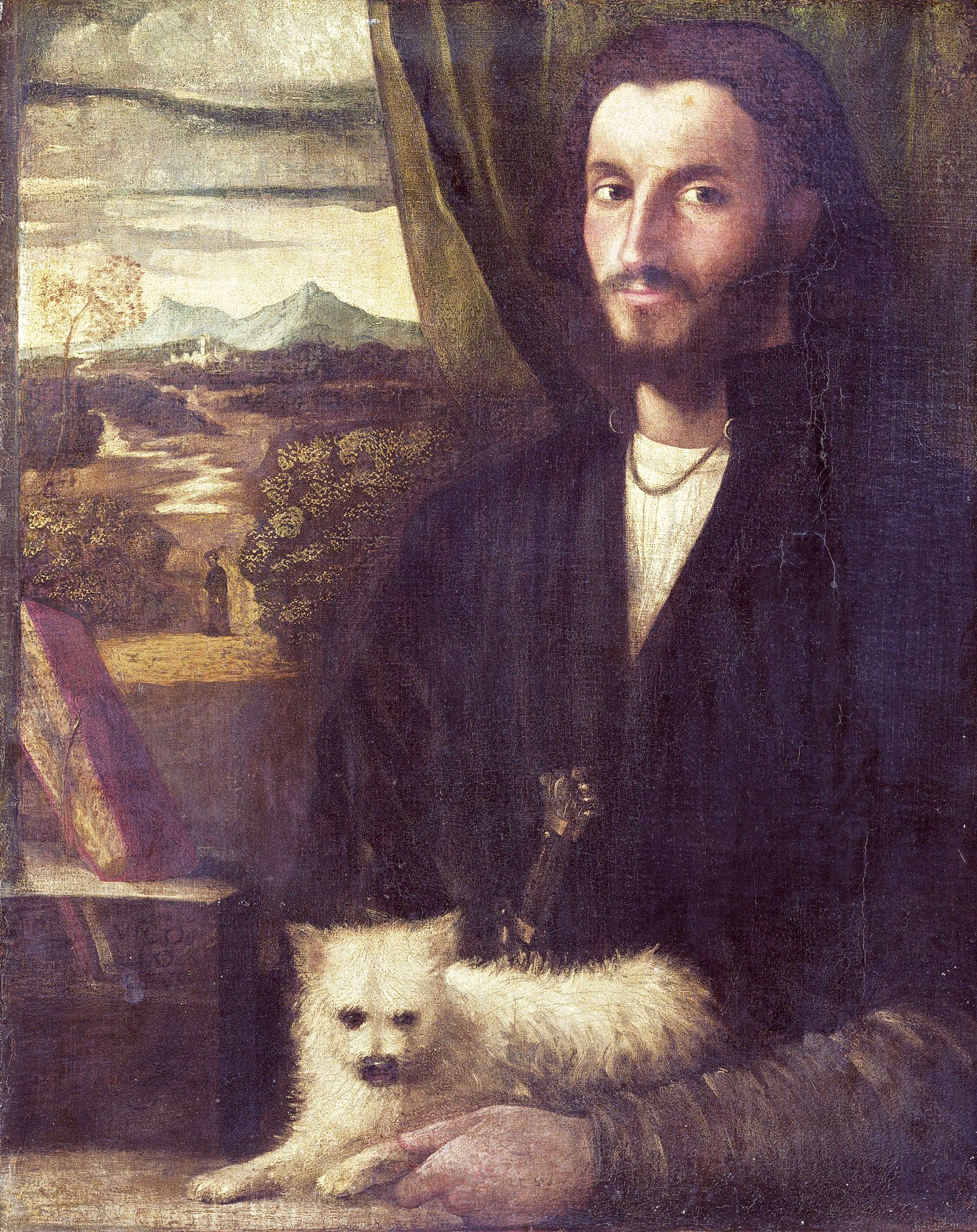 Cariani (Italian, 1485/1490 - 1547 or after ), Portrait of a Man with a Dog, c. 1520, oil on canvas, Gift of Samuel L. Fuller