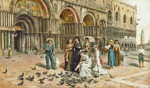9 - Venezia, Basilica di San Marco. L'immagine si può collocare come periodo nel decennio tra il 1875 e il 1885, a giudicare dalla foggia degli abiti e dei dettagli, acconciature