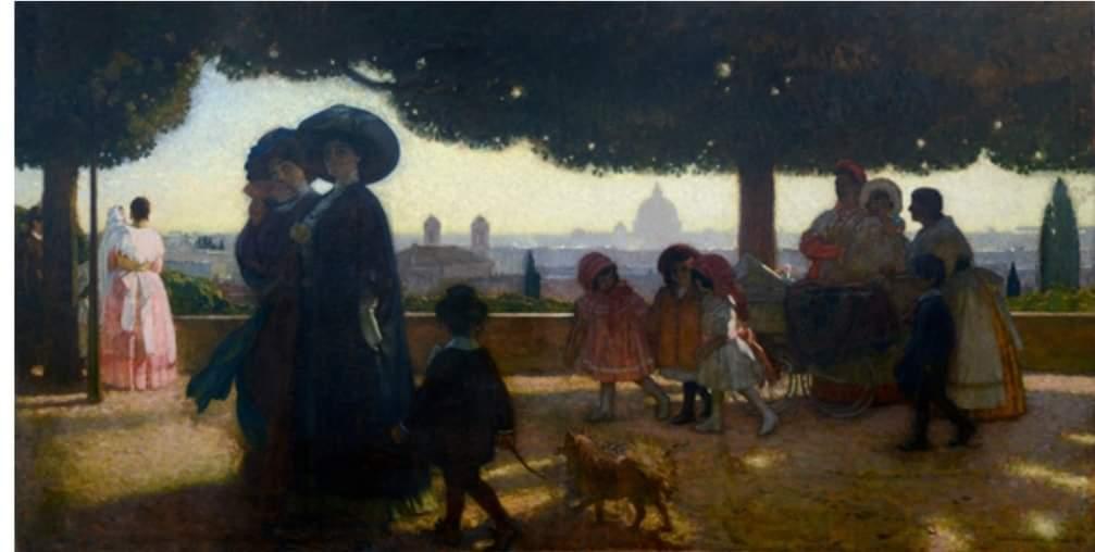 Georges Paul Leroux- Parigi, 1910 - Passeggiata al Pincio